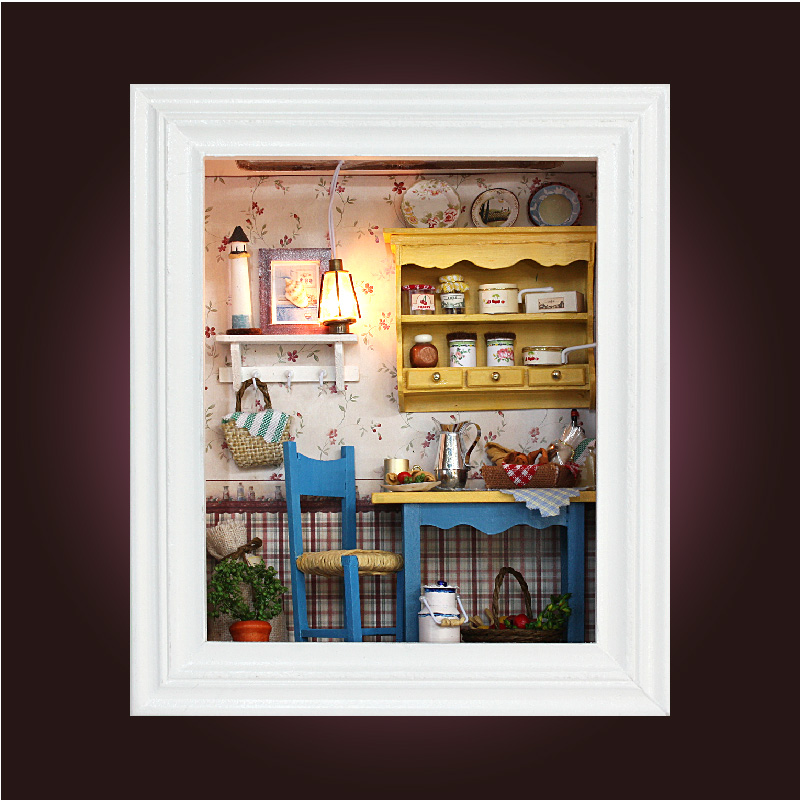 Handmade Wooden Frame Room Box Miniature DIY 3D Dollhouse Doll House ...