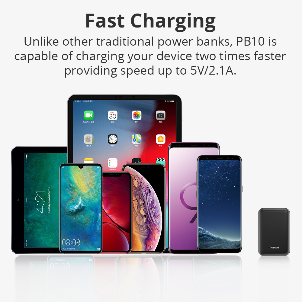 Image 4 - Tronsmart PB10 Mini Power Bank 10000mah Fast Charge External Battery Portable Charger with LED Display for iPhone,Samsung,xiaomi-in Power Bank from Cellphones & Telecommunications
