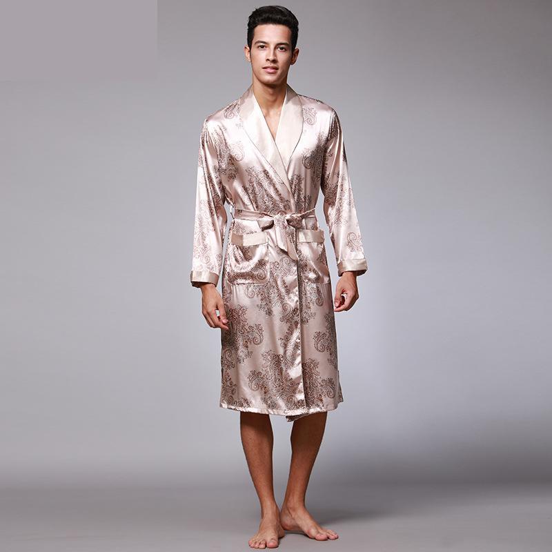 18 06 Pour Hommes Motif Paisley Robes Homme Luxe Imprimé Satin Soie Pyjamas Peignoir Homme Kimono Robe De Bain Robe De Chambre Hommes In Robes From