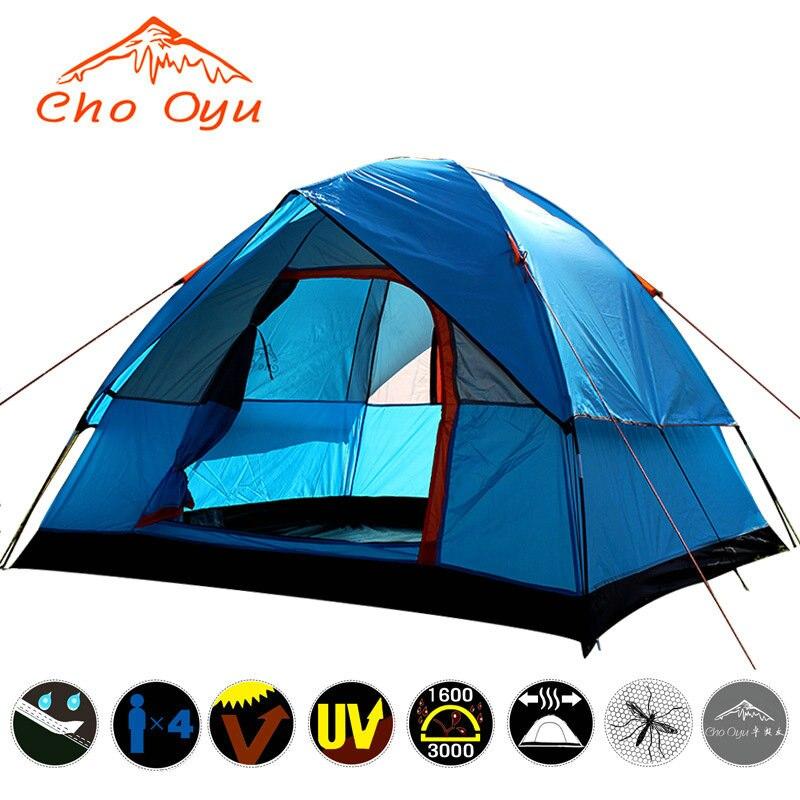 Livraison à partir de La Russie/Chine 3-4 Personne tente de camping Doubles Couches Étanche Anti UV Tentes Touristiques Pour En Plein Air Randonnée Plage voyage