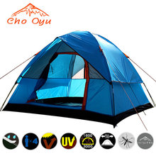 Ship From Russia / China 3 4 Person Camping Tent Double Layers Waterproof Anti UV Tourist Tents For Outdoor Hiking Beach Travel