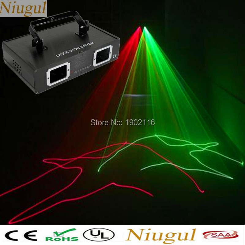 Niugul 2 Lens Scan Red Green RG Beam Pattern Laser,Beam Effect Lights,DMX DJ Party Club Bar Holiday Wedding Show Stage Lighting 3 lens rgb full color scan beam line pattern laser lights dmx sound auto dj party home show bar club stage lighting effect h 3 p