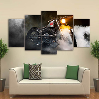 5 Piece Canvas Art Vintage Motorcycle Smoke HD Printed Home Decor Canvas Painting Picture Poster Prints