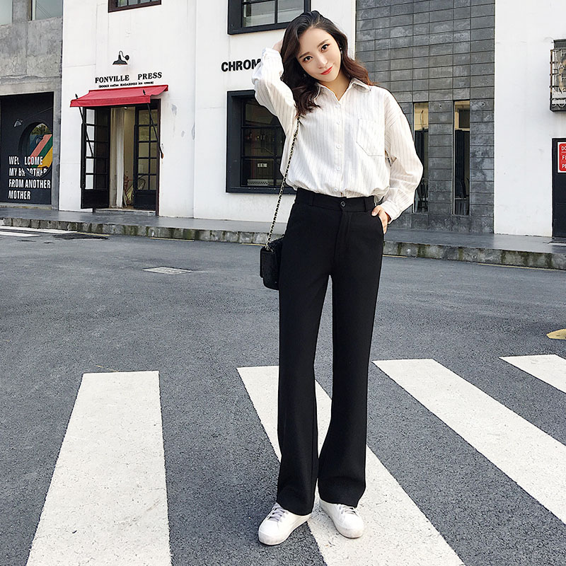 Tall women long pants full length smooth fabric straight wide leg pants female casual loose solid black trousers kpop fashion 2