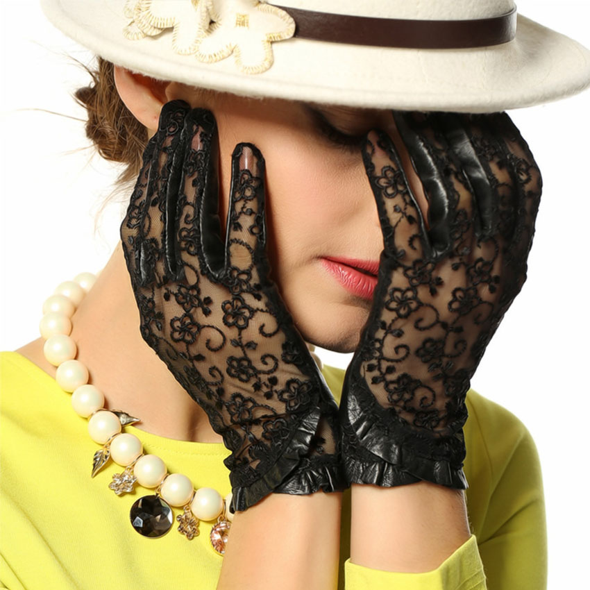 Top Fashion Women Gloves Wrist Lace Sheepskin Glove Solid Genuine Leather Dressing Sunscreen Driving Unlined Free Shipping L095N