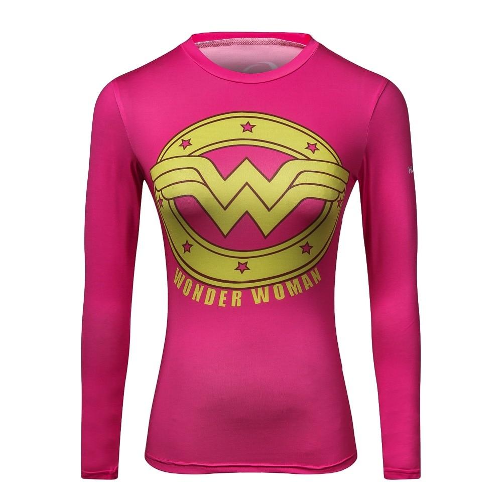 Women T Shirt Superhero Marvel Superman/Batman/Wonder Women 3D T-Shirt Long Sleeve Fitness Clothing Tights Compression Tshirt