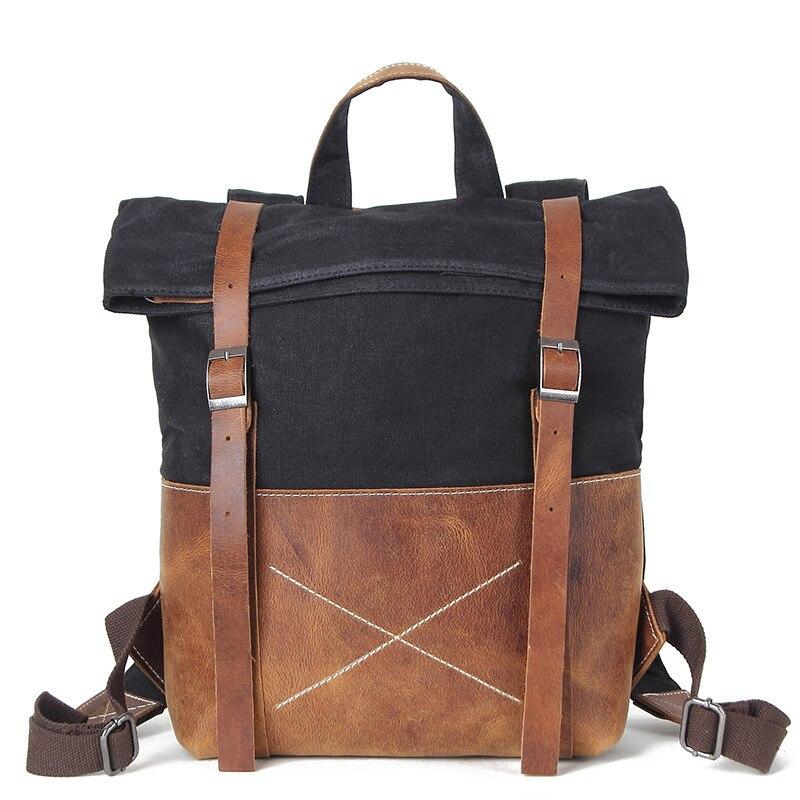 Men Canvas Backpack Vintage Canvas Rucksack Aptop Backpack Waterproof Laptop Backpack LeatherMen Canvas Backpack Vintage Canvas Rucksack Aptop Backpack Waterproof Laptop Backpack Leather