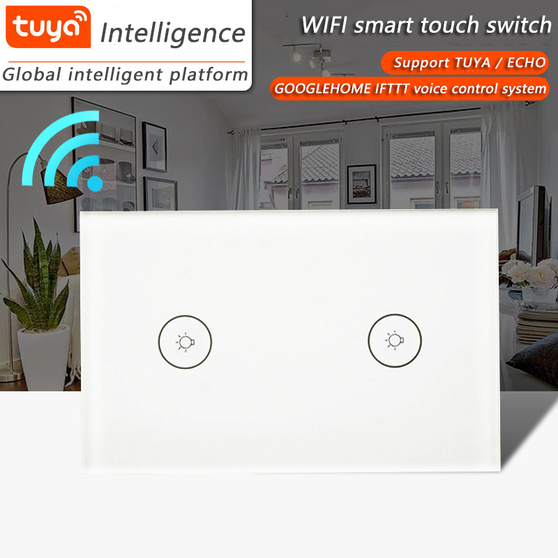 Amazon Alexa and Google Home WiFi  Wall Light Switch US Tu ya Control Touch Glass Panel  2 gang 1way  Smart Home-in Switches from Lights & Lighting    1