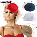 A068 Womens Dress Vintage Fascinator Wool Pillbox Hat Party Wedding Bow Veil New-2 Fashion cap