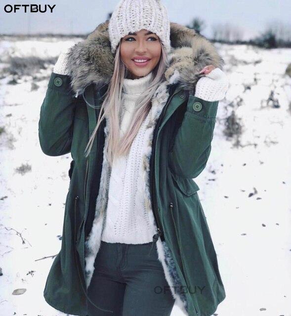 OFTBUY 2020 חורף מעיל נשים אמיתי פרווה מעיל ארוך Parka טבעי דביבון פרווה צווארון ארנב פרווה אניה עבה חם Streetwear חדש