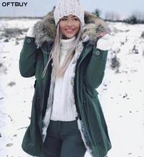 Oftbuy 2020 jaqueta de inverno feminino casaco de pele real longo parka natural gola de pele de guaxinim pele de coelho forro grosso quente streetwear novo