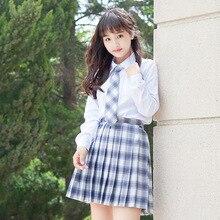 цена на Uniform Pleated skirt Light brown white grid Earth yellow Jujube Purple White dreamy grid skirts