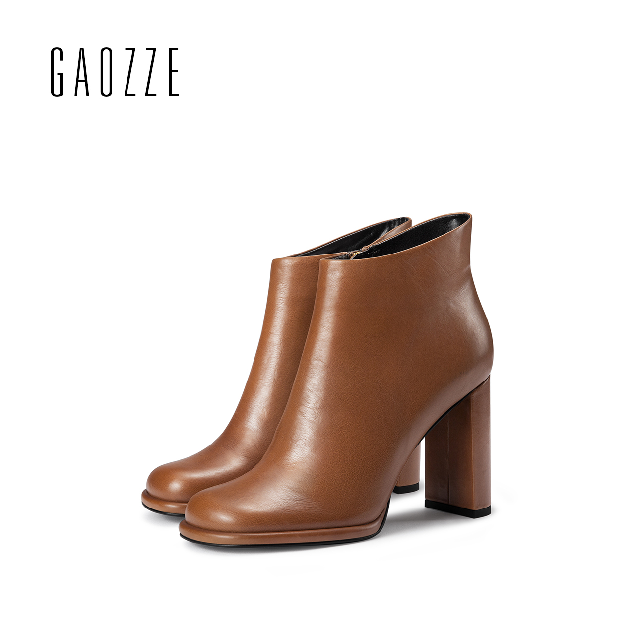 GAOZZE Fashion women boots square toe high heel ankle boots for women 2017 autumn new female side zipper brown leather boots woman platform square high heel buckle ankle boots fashion round toe side zipper dress winter boots black brown gray white