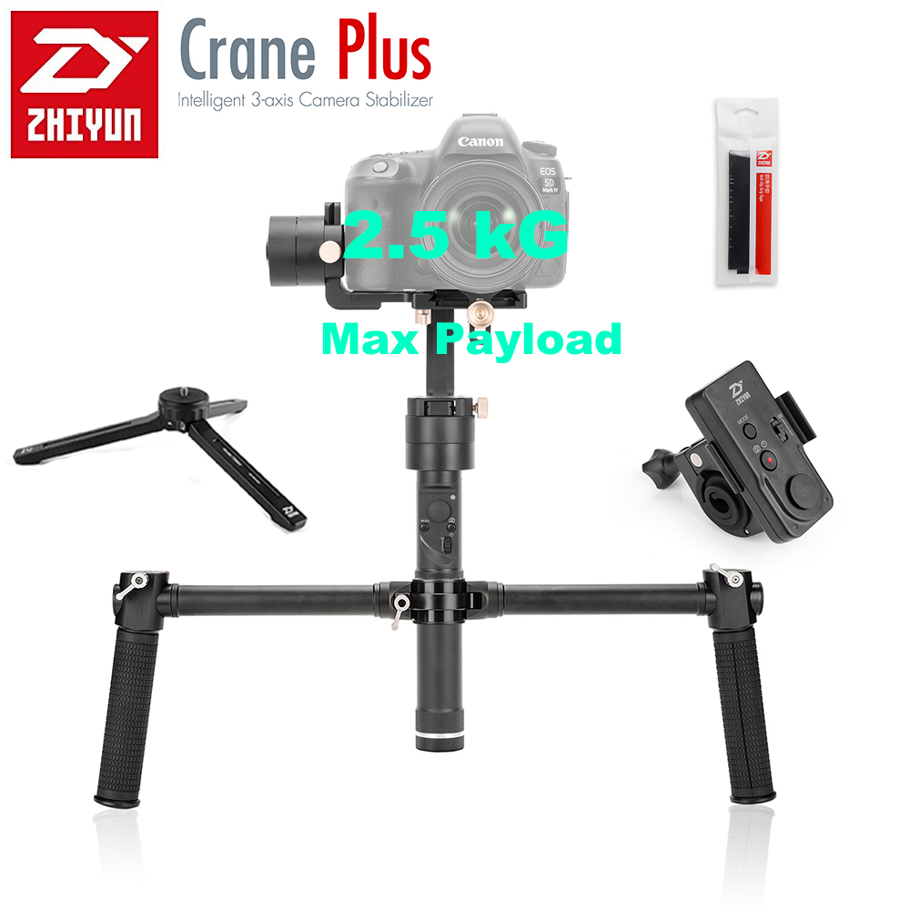 Zhiyun Crane Plus 3 Axis Handheld Gimbal Stabilizer Brushless Motors for Mirrorless Camera with ZW-B02 Remote Dual Handheld Grip zhiyun crane 3 axis handheld gimbal stabilizer 360 motors degree moving gimbal vs beholder ds1 ms1 nebula 4000 lite for dslr