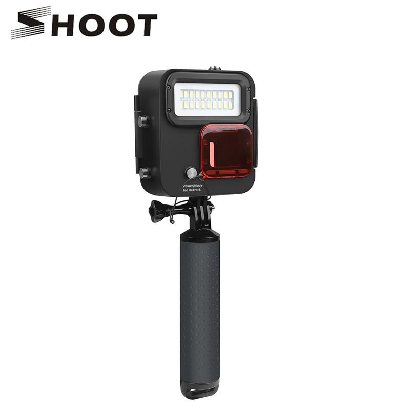 SHOOT 2018 Newest 40M Kangaroo Light Waterproof Super Bright Underwater LED Video Action Camera Diving Lamp