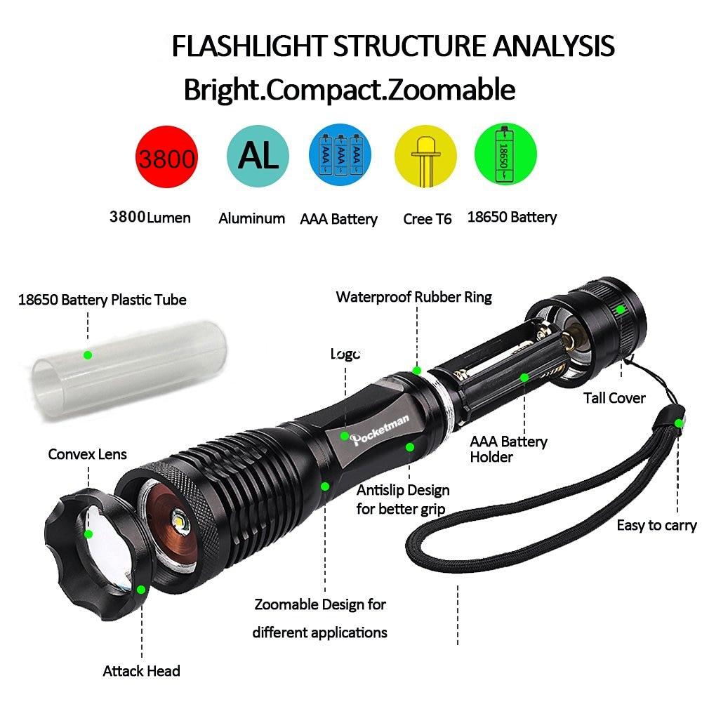 lanterna led zoomable t6 led Função : Resistente a Choques