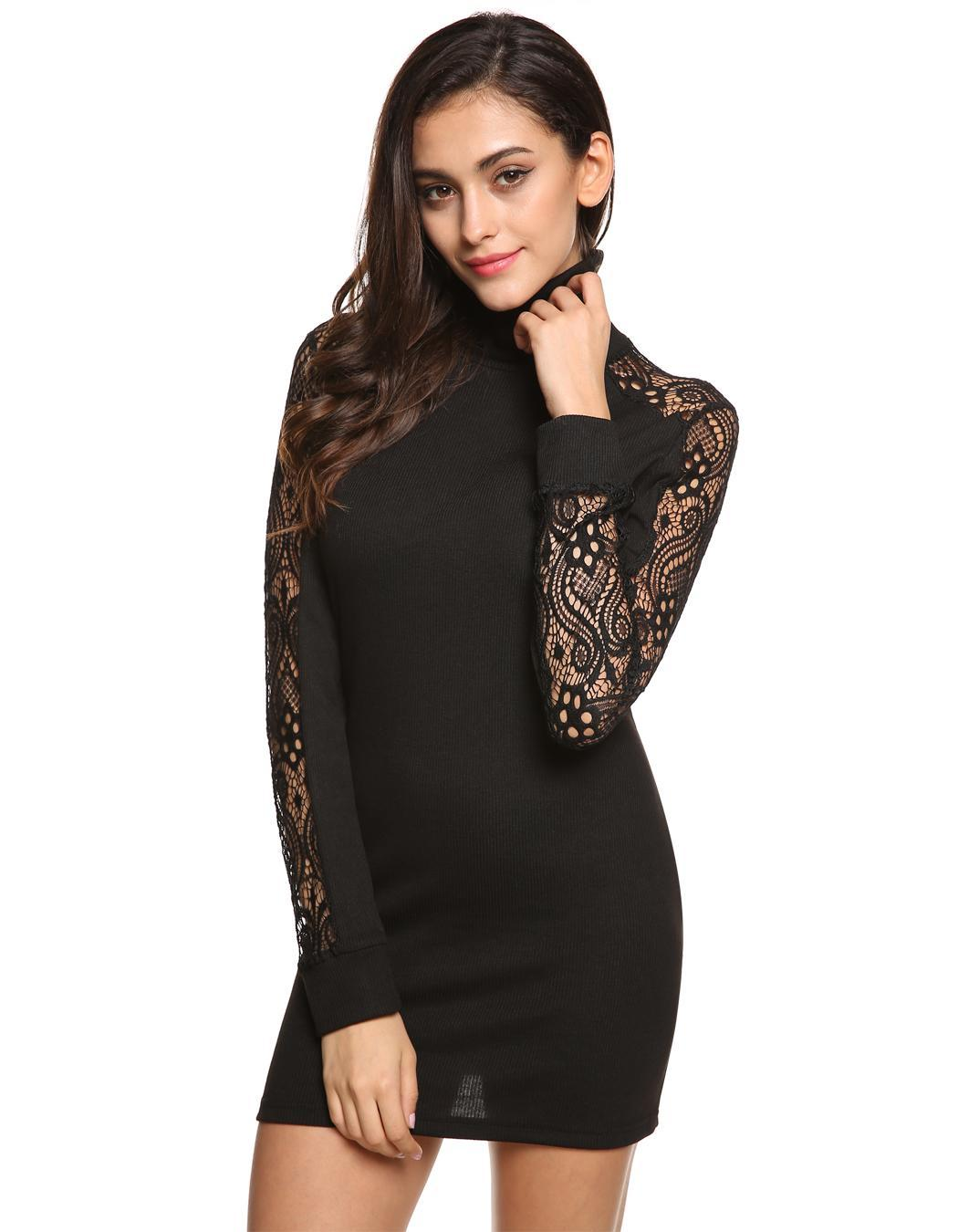 Women Sexy Black Dress Bodycon Autumn High Neck Dresses Hollow Out Long Sleeve Vestidos Robe Longue Femme Lace Knitted
