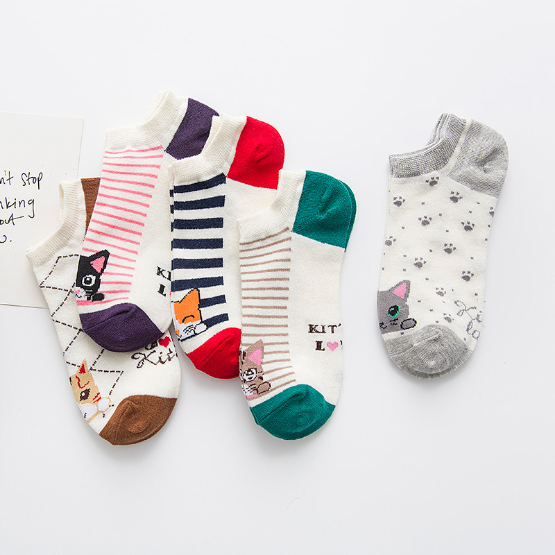 Women's autumn new stripe boat socks socks Women's cotton short stripe socks factory direct 961