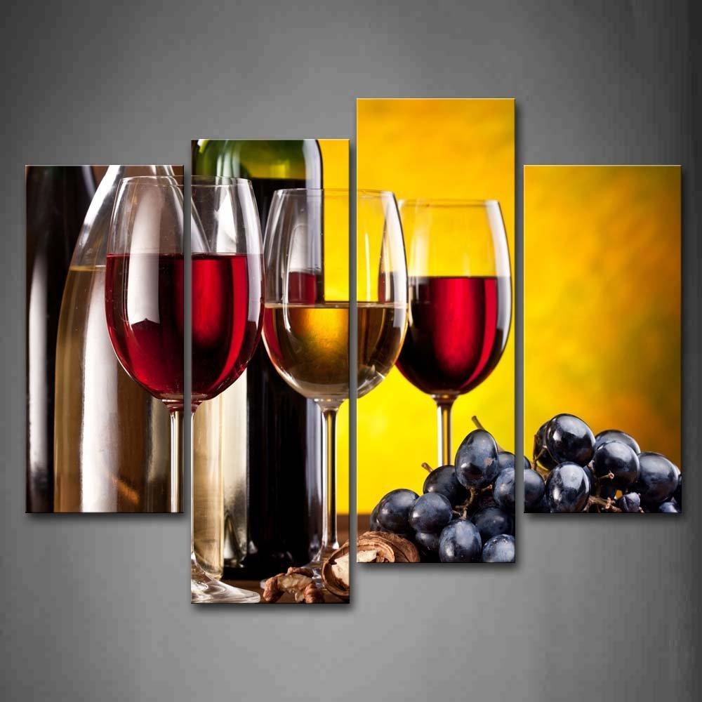 Wine bottle wall art 4 piece frame modern kitchen canvas for Wine bottle artwork