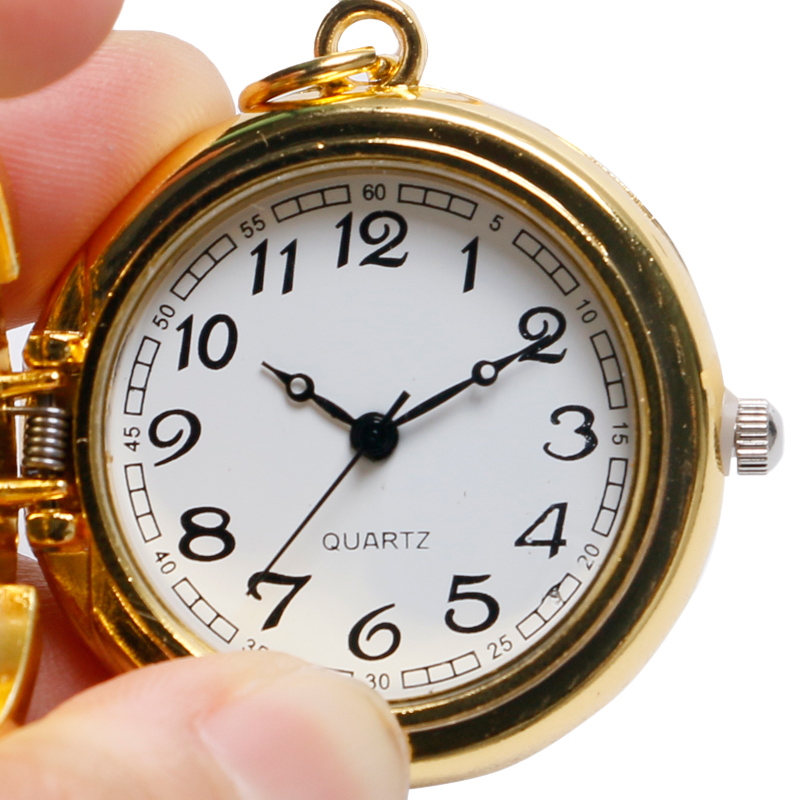 Golden Cool Spider Man Design Children Mini Pocket Watch Quartz Nacklace Pendant Fob Clock with Chain for Boys Girls