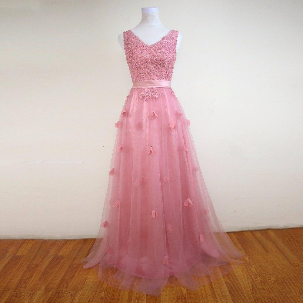 Pink Wedding Dresses For Sale Online: Hot Sale V Neck Pink Lace Beaded A Line Floor Length Long