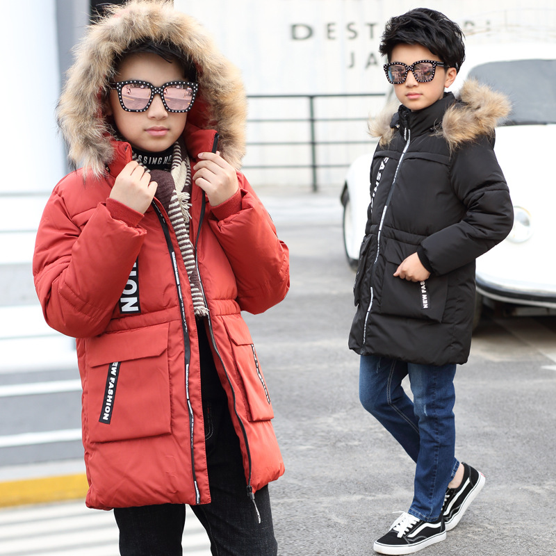 2017 New Fashion Boys Winter Jacket Cotton Coat Children Parka Detachable Faux Fur Hooded Collar Long Style Army Green Red Black 2017 new fashion boys winter jacket cotton coat children parka detachable faux fur hooded collar long style army green red black