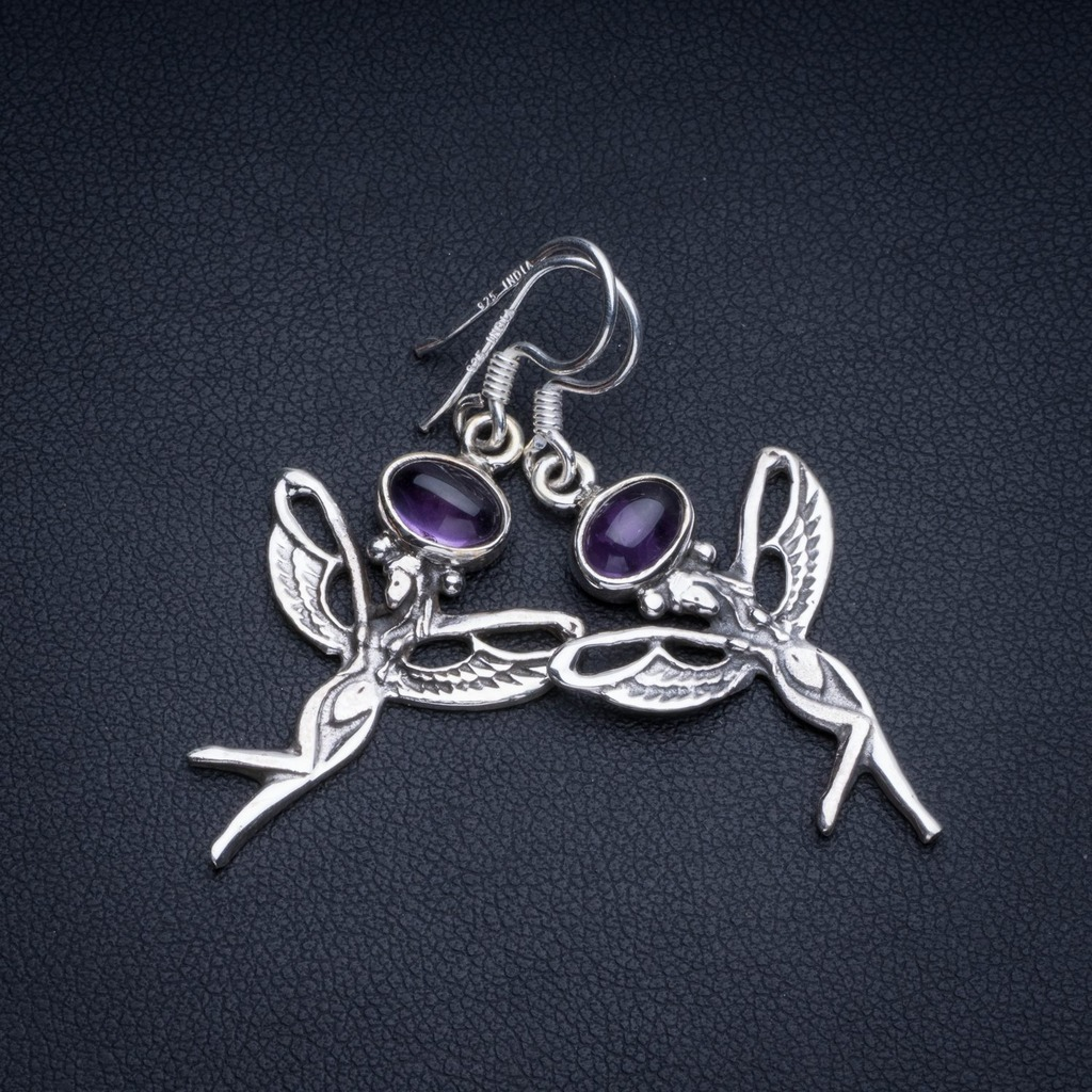 Natural Amethyst Boho Style 925 Sterling Silver Drop Earrings 1 3/4 R1999Natural Amethyst Boho Style 925 Sterling Silver Drop Earrings 1 3/4 R1999