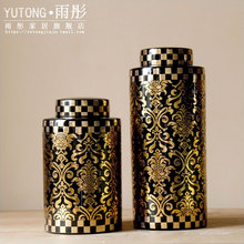 Gold ornaments of modern Chinese ceramic crafts, pot round room decor Home Furnishing entrance