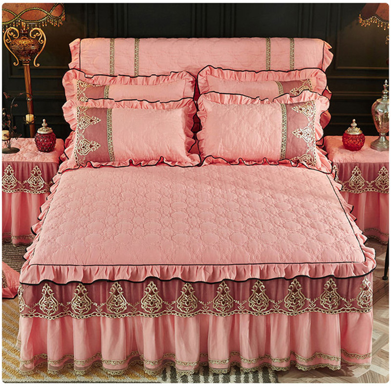 Fast shipping European style sanding cotton thickened bedskirt 3pcs pure color lace edge bedspreads high quality bedding set in Bedspread from Home Garden