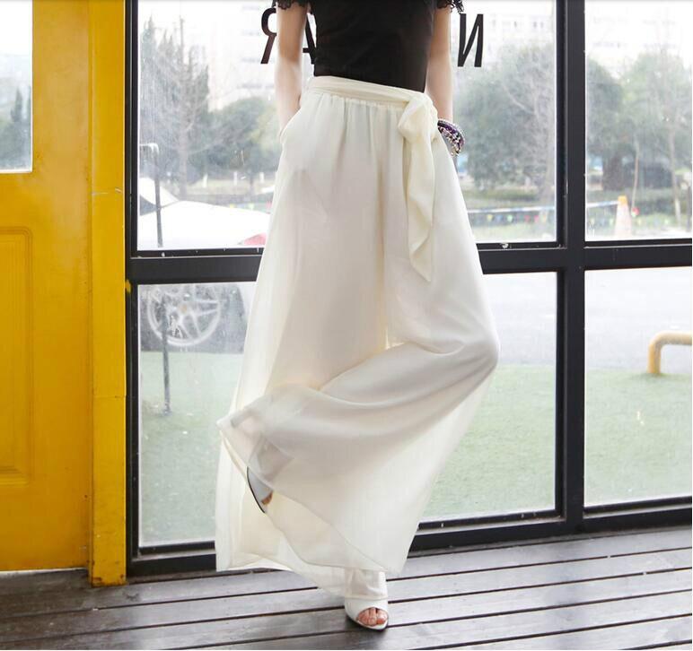 Nuevo Moda Cintura Casual Ancha 2018 Gasa blanco Ropa Niñas Negro Femenino Elástica Bohemia Mujeres Verano Pantalones Pierna dxnTTwIE
