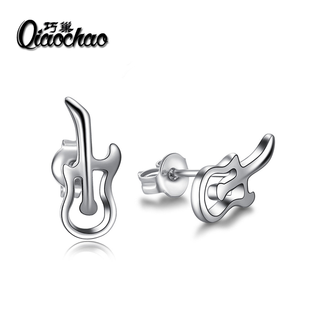 Fashion 2018 Women Silver Stud Earrings Mini Guitar Earring For Wedding  Party Accessories Summer Style Jewelry For Woman