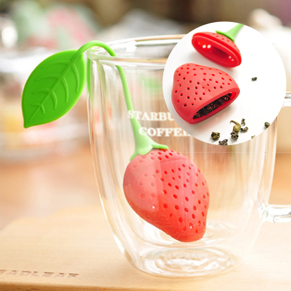 Tea Infuser for Teapot Brew Tea Strainer Silicone Infusers Strawberry Shape Filter Infusers Tea Pot Accessory Infusions for Teas