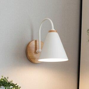 Image 3 - Luces de pared de madera para mesita de noche lámpara de pared para dormitorio, candelabro para cocina, restaurante, lámpara de pared moderna, apliques nórdicos de macarrón