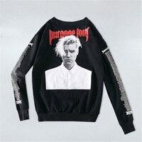 Newest Justin Bieber Purpose Tour Hoodies Men Head Portrait Letters Printed Sweatshirts Women Fashion Streetwear Pullovers
