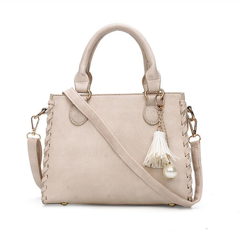 2017 Women Leather Top-Handle Handbags Ladies Tassel Design Tote Shoulder Bag Lu