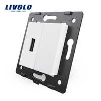 Envío Gratis, materiales de plástico blanco Livolo, piezas de bricolaje estándar de la UE, llave de función para enchufe USB, 4 colores (VL-C7-1USB-11)