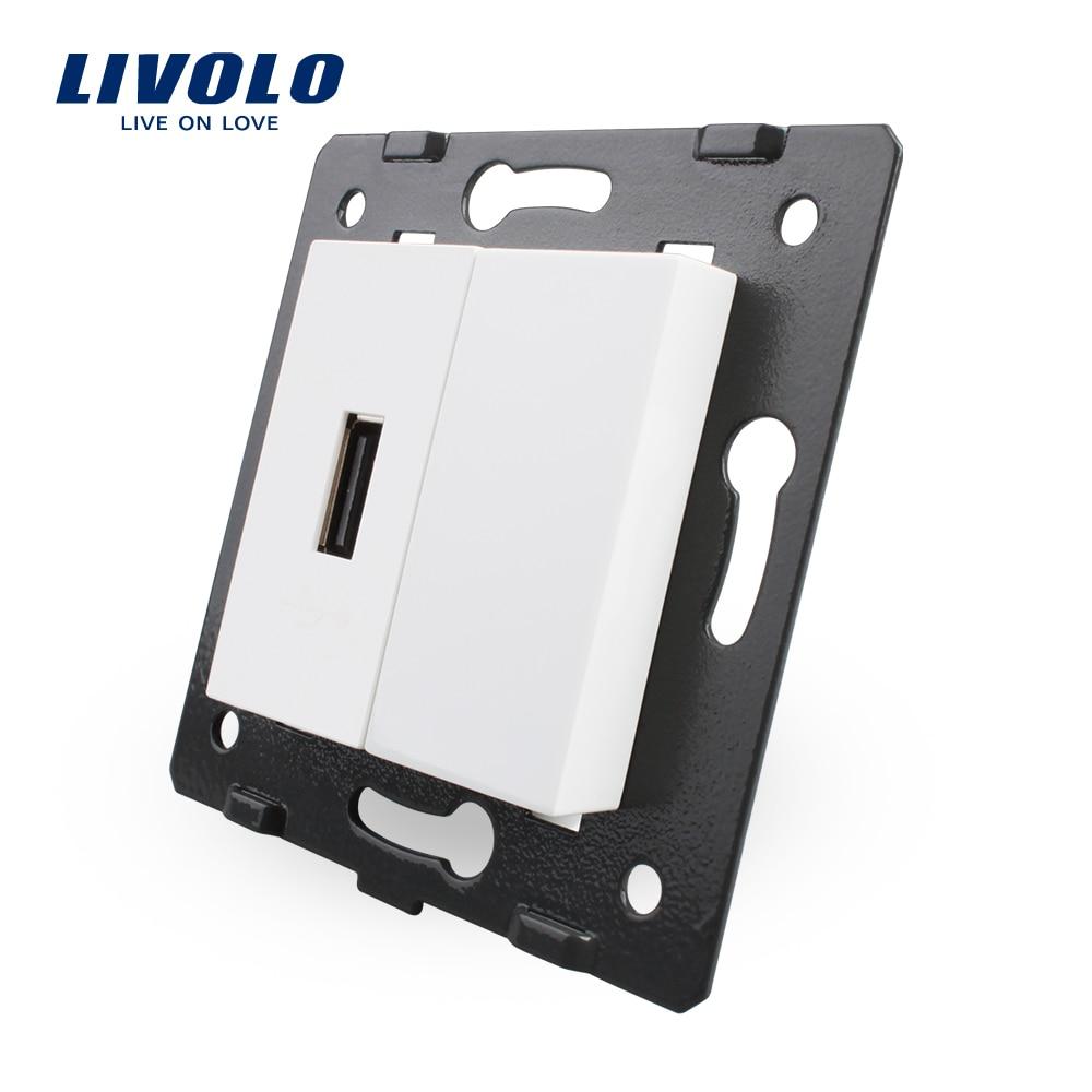 Kostenloser Versand, Livolo Weiße Kunststoff Materialien, EU Standard DIY Teile, Funktion Schlüssel Für USB Buchse, VL-C7-1USB-11 (4 Farben)