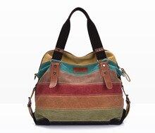 Холст Полосатый Для женщин Курьерские сумки Высокое качество Повседневное сумка большая сумка школьная сумка с длинным ремнем Bolsas