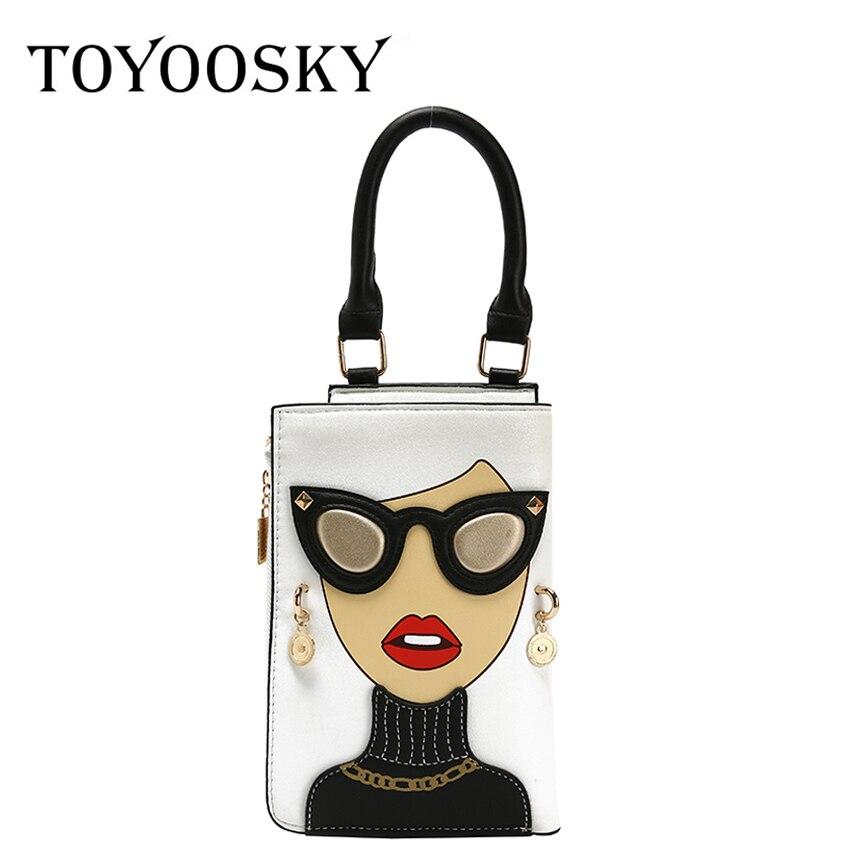 TOYOOSKY Fashion Earrings Sexy Woman Character Design Handbag Mini Shoulder Bag Glassess Ladies Crossbody Flap Purse Bolsa