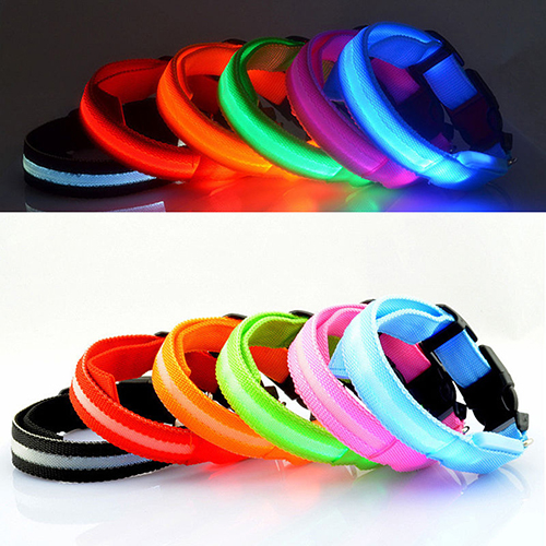 Puppy Dog Cat Night Safety Flashing Luminous LED Light Adjustable Pet Collar