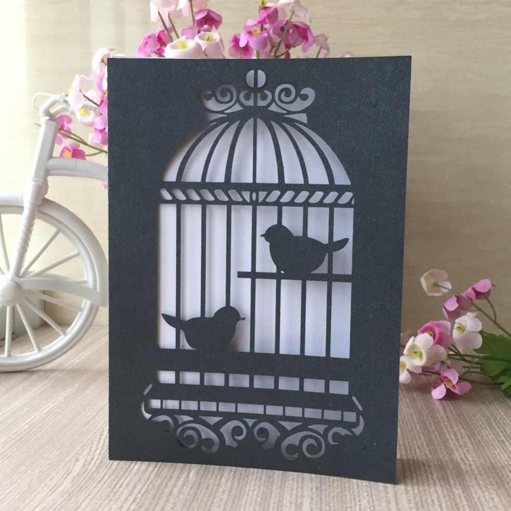 100 pièces découpé au Laser motif cage à oiseaux cartes de mariage Initations 2018 décorations de fête d'anniversaire carte de voeux
