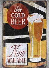 1 pc ice cold beer sold here bar shop Tin Plate Sign wall plaques man cave Decoration Dropshipping Poster metal