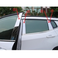 8Pcs Stainless Steel Window Column Trim Stripe Glossy Sticker For Jeep Compass 2017 Onward Car Styling