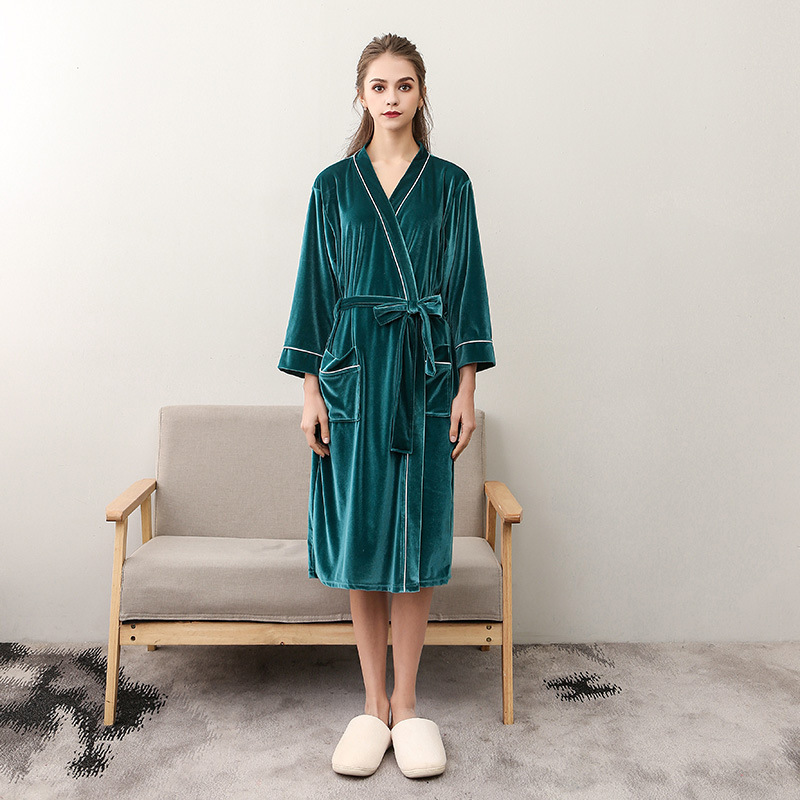 Autumn Sexy Women Robe Winter Warm Velvet Kimono Bathrobe Gown Solid Color Night Dress Casual Sleepwear Plus Size 3XL