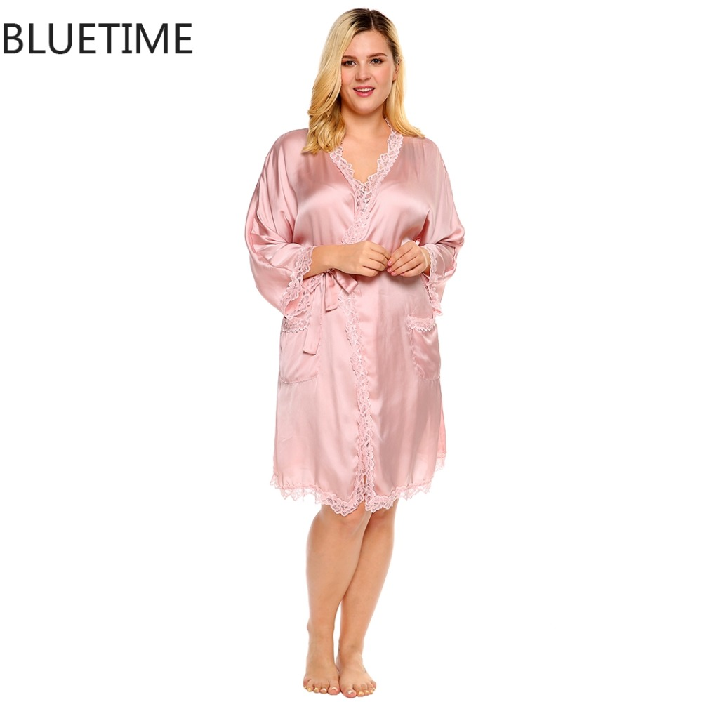 sexy lace plus size bride robes satin kimono robes femme. Black Bedroom Furniture Sets. Home Design Ideas
