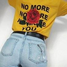 Women Tumblr Grunge Black Yellow Tee No More You Rose Back Printed T-Shirt