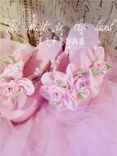 Luxury Design Sweet Girl Cute Flower Beaded Diamond Embroidery Pink Wedge Heels Platform Thongs Shoes Beach Comfortable Sandals