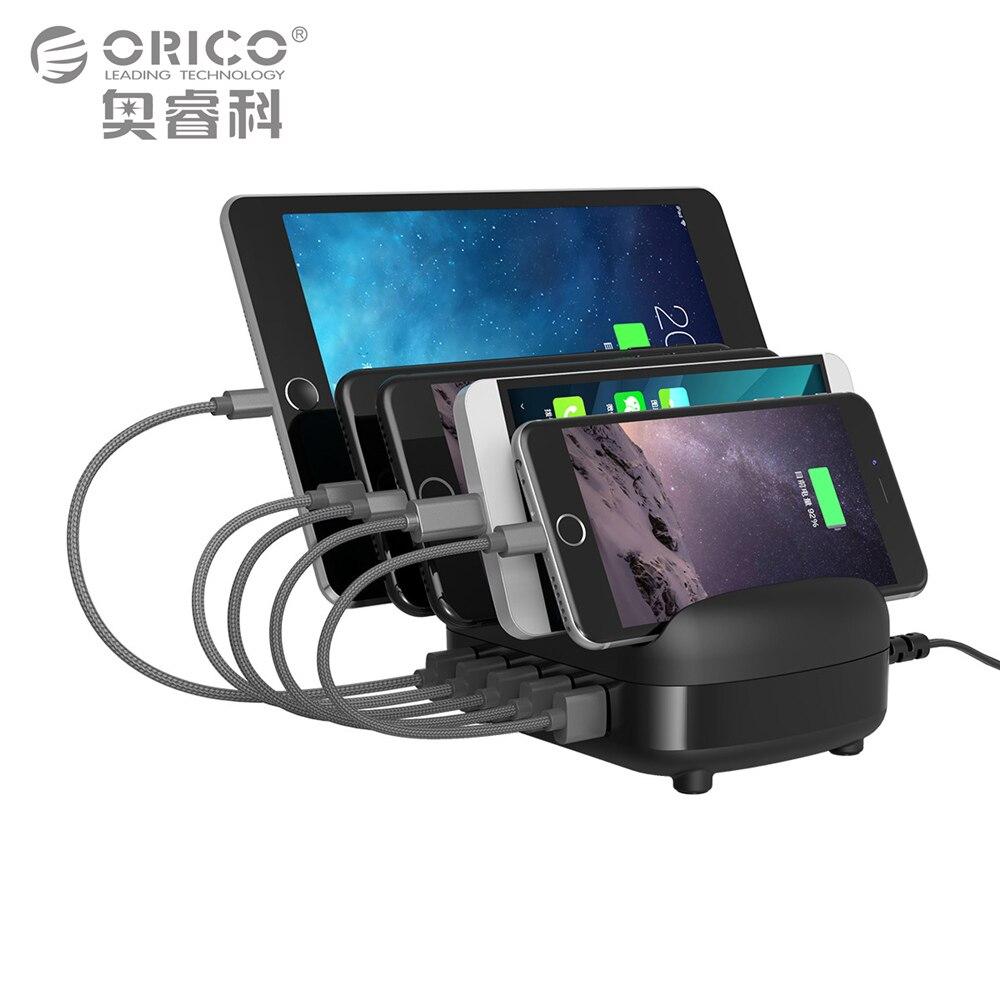 ORICO 5 Порты USB Зарядное устройство Док-станция с держателем 40 Вт 5v2. 4A * 5 зарядка через USB для смартфонов Планшеты PC Применить для дома обществе…