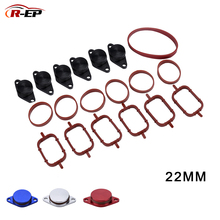 цена на 6pcs 22mm Diesel Swirl Flap Blanks Replacement Aluminum Bungs with Intake Manifold Gasket for BMW E46 320d 330d 520d 525d 530d