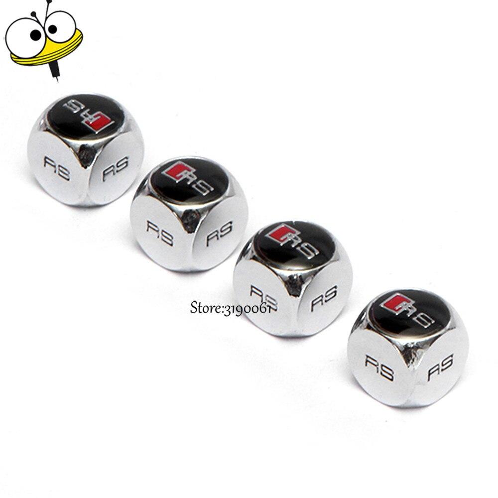 Car Styling Valve Stem Caps Valve Caps Tire Valve For RS Logo For Audi RS3 RS4 RS5 RS6 RS7 A3 A4 A5 A6 B6 B7 B8 Q3 Q5 Q7 S3 S5